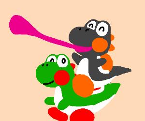 Yoshi riding on yoshi