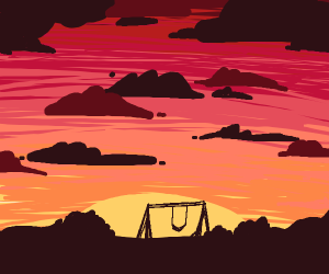 swing on a sunset background
