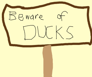 sign that says beware the ducks