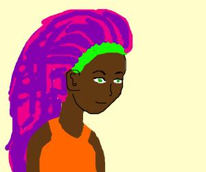 black girl with long purple hair