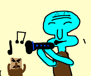 Squidward playing the clarinet
