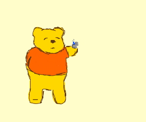 Winnie the Pooh with a blue flamed lighter