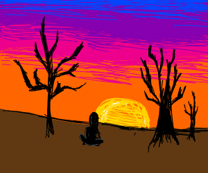girl sitting next to trees in a sunset
