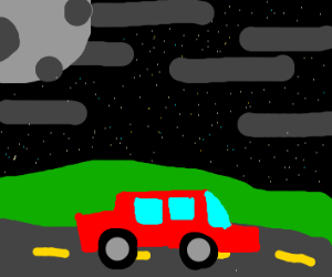 Car on a road on a starry night