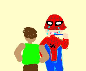Spiderman brushes his teeth behind guy crying
