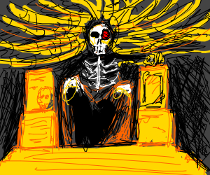 Skeleton mummy on a throne