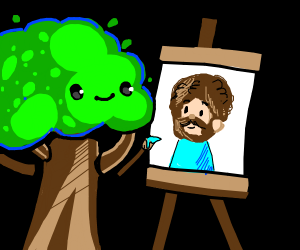 A happy little tree is painting Bob Ross