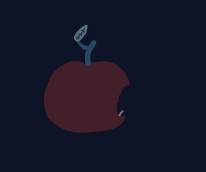 An apple with a stem and leaf