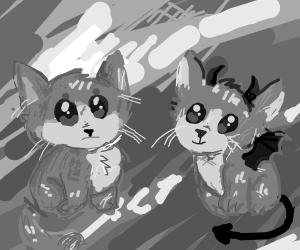 A kawaii kitten and a demonic kitten