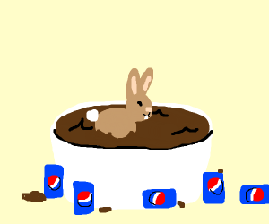 Bunny in a Pepsi bath