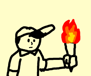 man with had and  torches