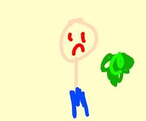 Man in shorts who dislikes brocoli