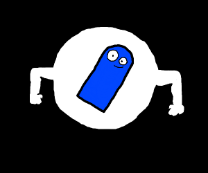 blue ? in a white circle with arms