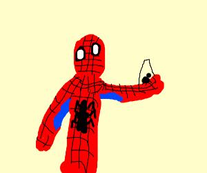 Spider Man catches spider