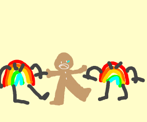gingerbread man surrounded by rainbows