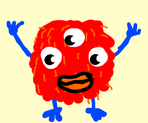 Red small furry monster