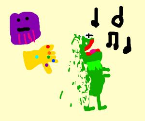 Kermit facing the music and turning into dust