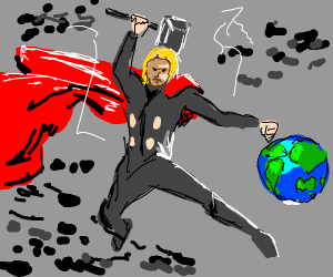 thor about to strike earth