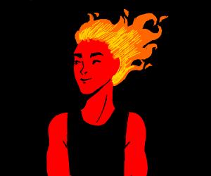Red skinned fire hair guy