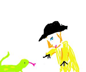 cowboy loves his huge pet lizard