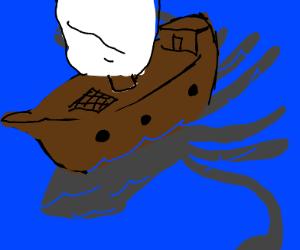 shadow of kraken underneath boat