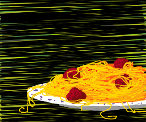 Very detailed spaghetti and meatballs