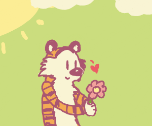 Tiger admiring a flower