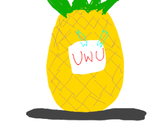 pineapple with a uwu face taped on it