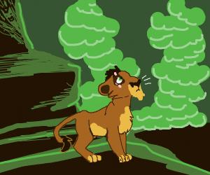 Scared emo lion
