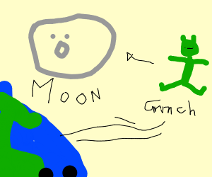 grinch flying to the moon