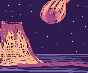 volcano an meteor
