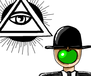 all seeing eye next to weird person