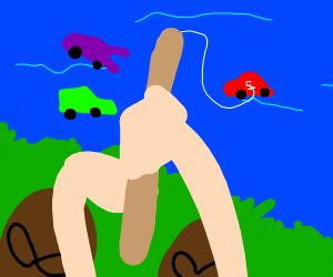 man fishing cars