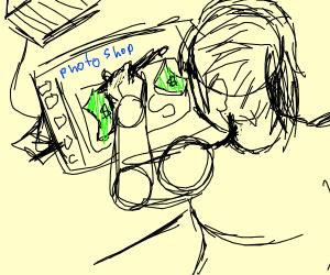 money being drawn on photo shop
