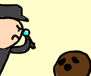 a detective studying a coconut