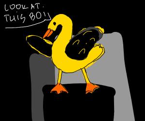 Darkwing Duck pointing up in the dark