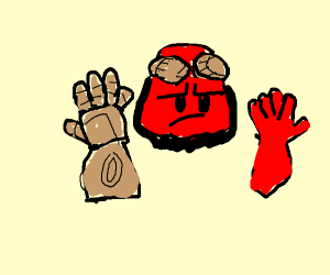 Demon's right hand is super bloated