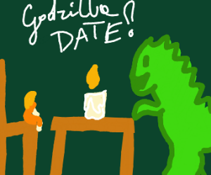 godzilla takes small woman on date