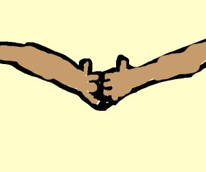2 bros doing a handshake