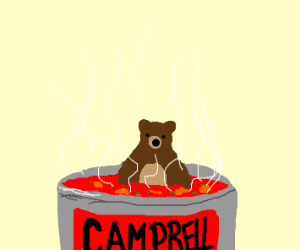 A bear in a can of soup