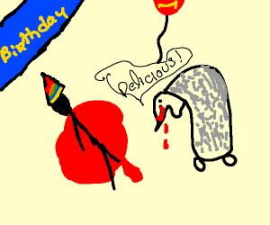Monster eats man on his birthday