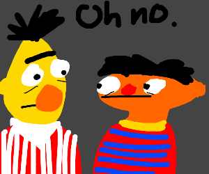 Bert and ernie looking in horror