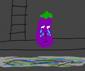 crying eggplant in the sewers