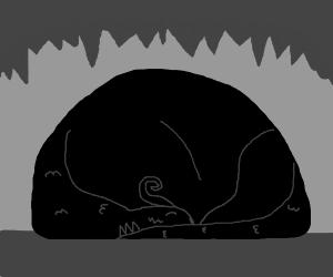 Dark dragon lying down