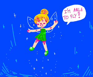 tinker bell exclaiming she is able to fly