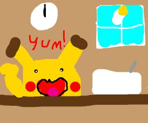 pikachu eating breakfast at noon