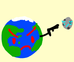 a earth with a face grabbing a person
