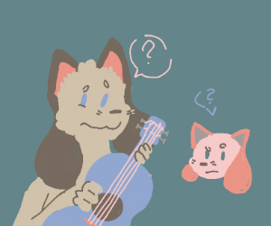 cat-dog hybrids trying to play a guitar