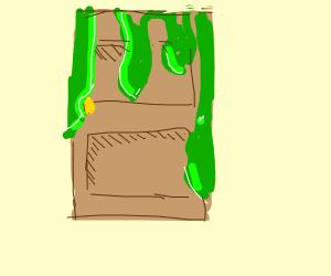 Green goo melting over door
