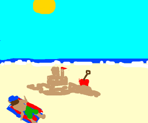 Builder laying on the beach